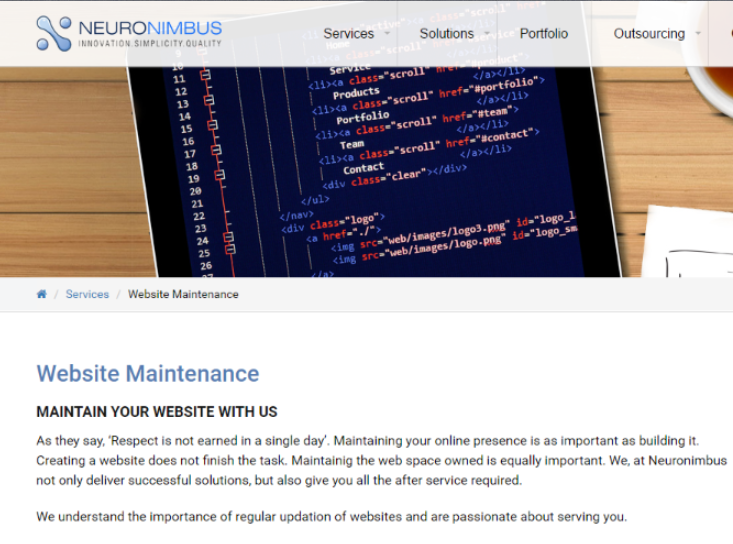neuronimbus website maintenance
